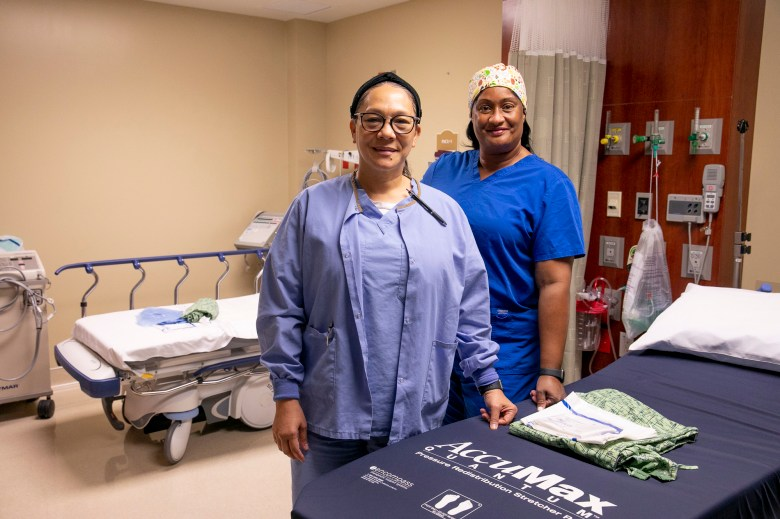Nurses Janet Stovall, left, and Candace Brim, right, are based in North Carolina but have been traveling as a pair since the beginning of this year. Photo by Anne Wernikoff, CalMatters