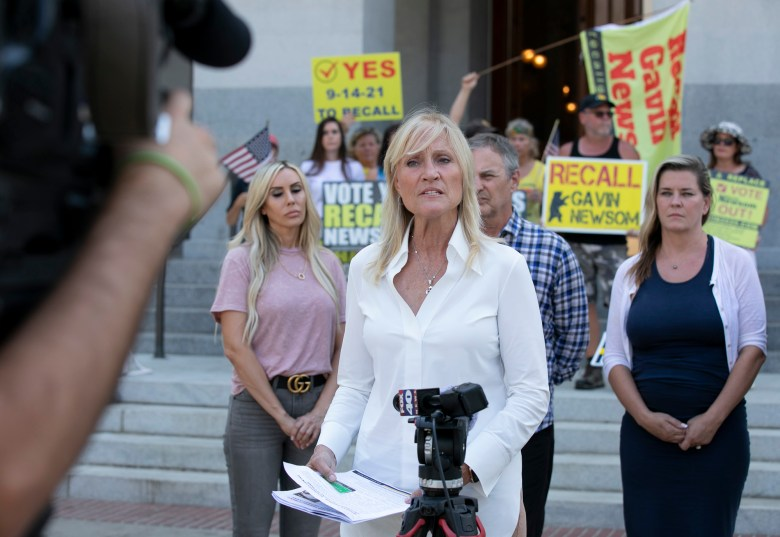 Anne Dunsmore, campaign manager for Rescue California, a pro-recall organization, said President Biden and Vice President Harris should be attending to matters in Washington, D.C., rather than campaigning for Gov. Newsom during a media availability on Sept. 9, 2021 at the state Capitol. Photo by Anne Wernikoff, CalMatters